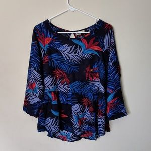 Roxy birds of paradise blue red tunic blouse